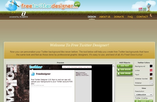 Free twitter desinger custom twitter background tool