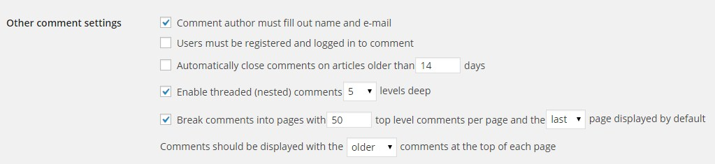comment settings in wordpress